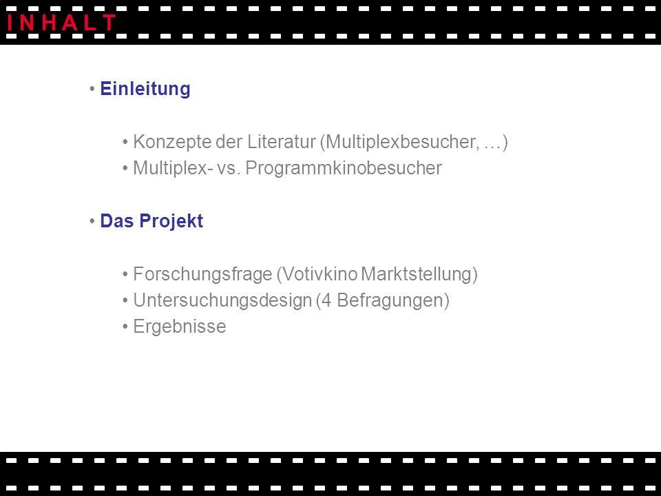 Einleitung Konzepte der Literatur (Multiplexbesucher, …) Multiplex- vs. Programmkinobesucher Das Projekt Forschungsfrage (Votivkino Marktstellung) Unt