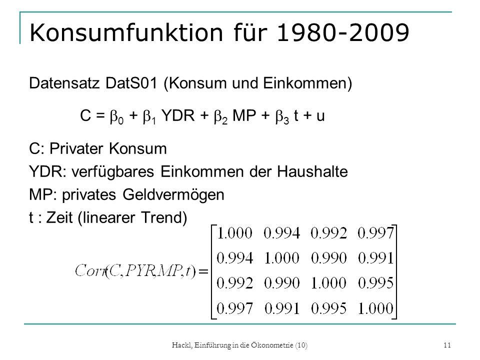 Hackl, Einführung in die Ökonometrie (10) 11 Konsumfunktion für 1980-2009 Datensatz DatS01 (Konsum und Einkommen) C = 0 + 1 YDR + 2 MP + 3 t + u C: Pr