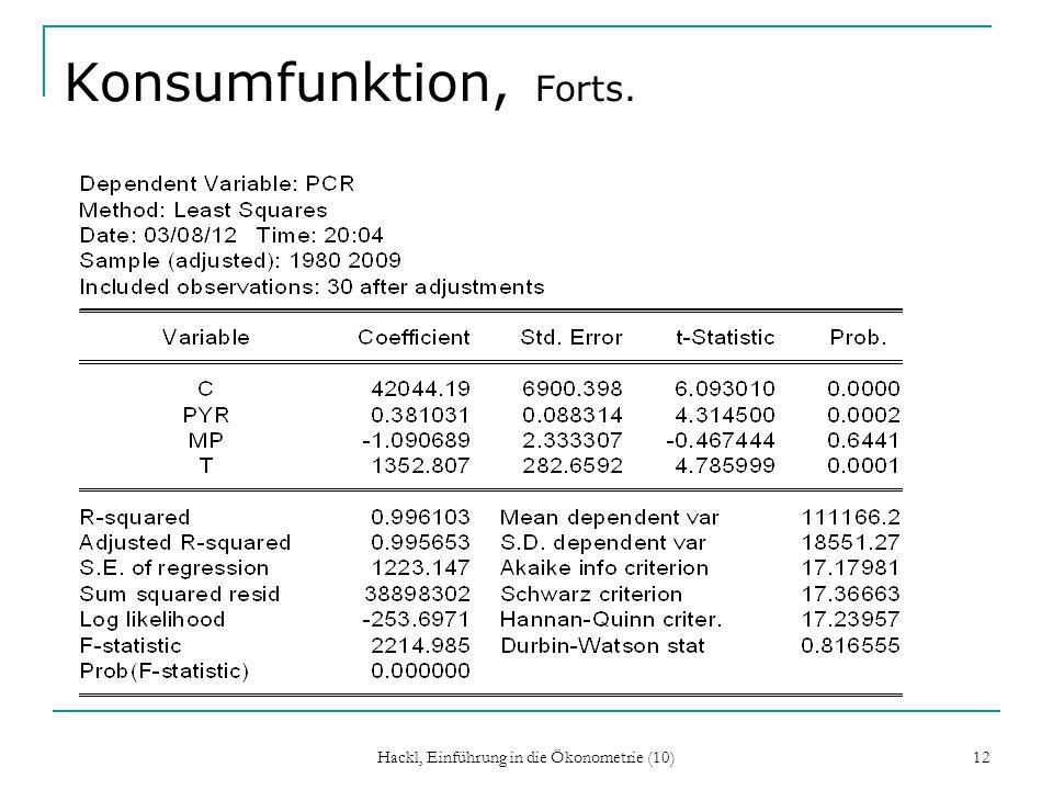 Konsumfunktion, Forts. Hackl, Einführung in die Ökonometrie (10) 12