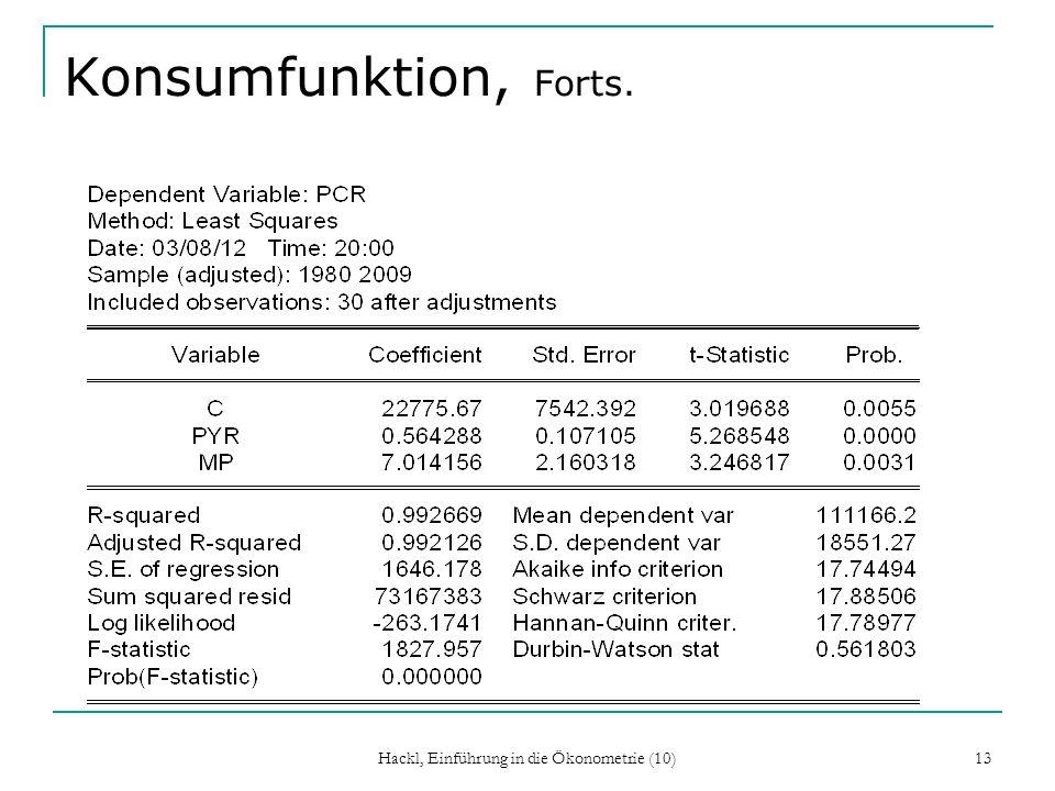 Konsumfunktion, Forts. Hackl, Einführung in die Ökonometrie (10) 13
