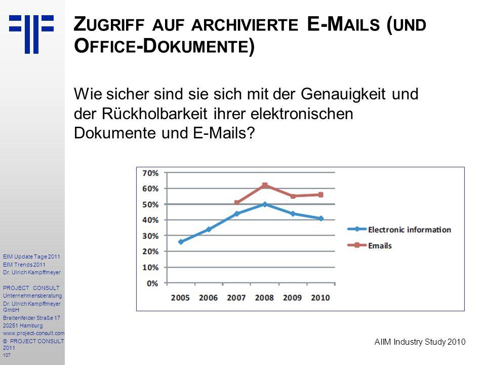 107 EIM Update Tage 2011 EIM Trends 2011 Dr. Ulrich Kampffmeyer PROJECT CONSULT Unternehmensberatung Dr. Ulrich Kampffmeyer GmbH Breitenfelder Straße