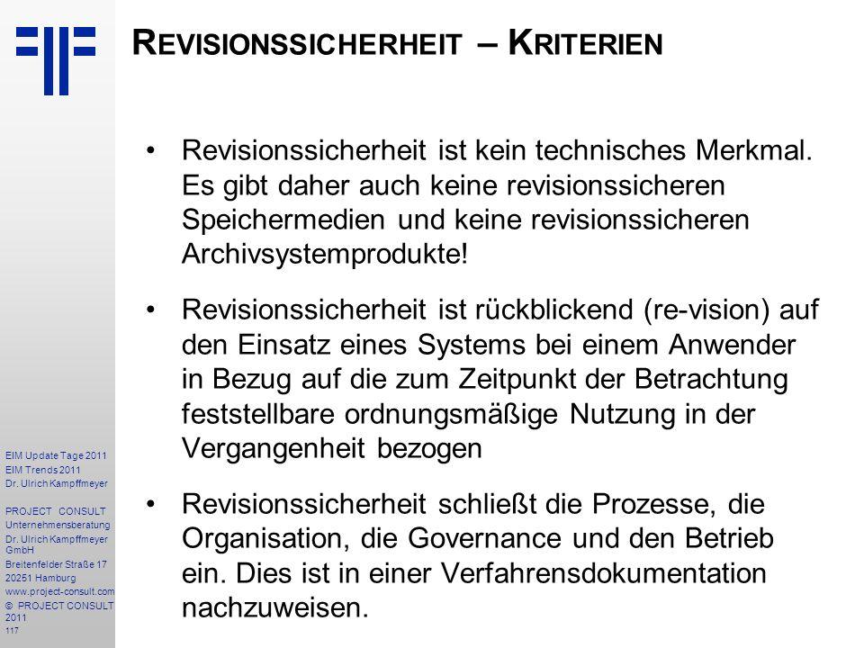 117 EIM Update Tage 2011 EIM Trends 2011 Dr. Ulrich Kampffmeyer PROJECT CONSULT Unternehmensberatung Dr. Ulrich Kampffmeyer GmbH Breitenfelder Straße