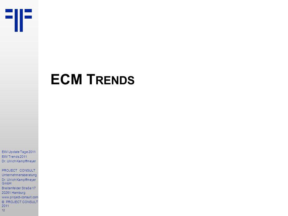 12 EIM Update Tage 2011 EIM Trends 2011 Dr. Ulrich Kampffmeyer PROJECT CONSULT Unternehmensberatung Dr. Ulrich Kampffmeyer GmbH Breitenfelder Straße 1