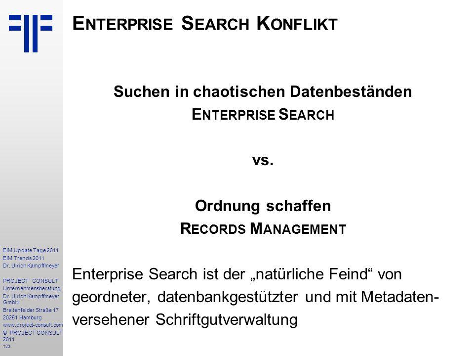 123 EIM Update Tage 2011 EIM Trends 2011 Dr. Ulrich Kampffmeyer PROJECT CONSULT Unternehmensberatung Dr. Ulrich Kampffmeyer GmbH Breitenfelder Straße