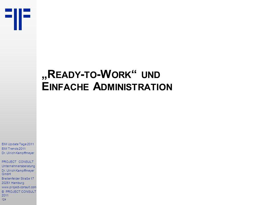 124 EIM Update Tage 2011 EIM Trends 2011 Dr. Ulrich Kampffmeyer PROJECT CONSULT Unternehmensberatung Dr. Ulrich Kampffmeyer GmbH Breitenfelder Straße