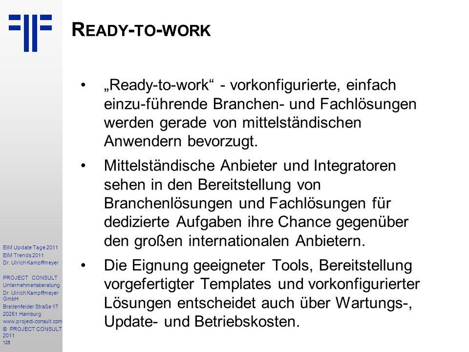 125 EIM Update Tage 2011 EIM Trends 2011 Dr. Ulrich Kampffmeyer PROJECT CONSULT Unternehmensberatung Dr. Ulrich Kampffmeyer GmbH Breitenfelder Straße