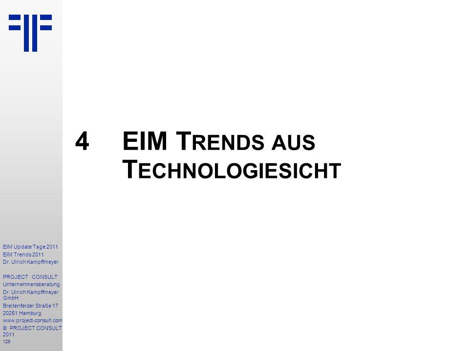 129 EIM Update Tage 2011 EIM Trends 2011 Dr. Ulrich Kampffmeyer PROJECT CONSULT Unternehmensberatung Dr. Ulrich Kampffmeyer GmbH Breitenfelder Straße