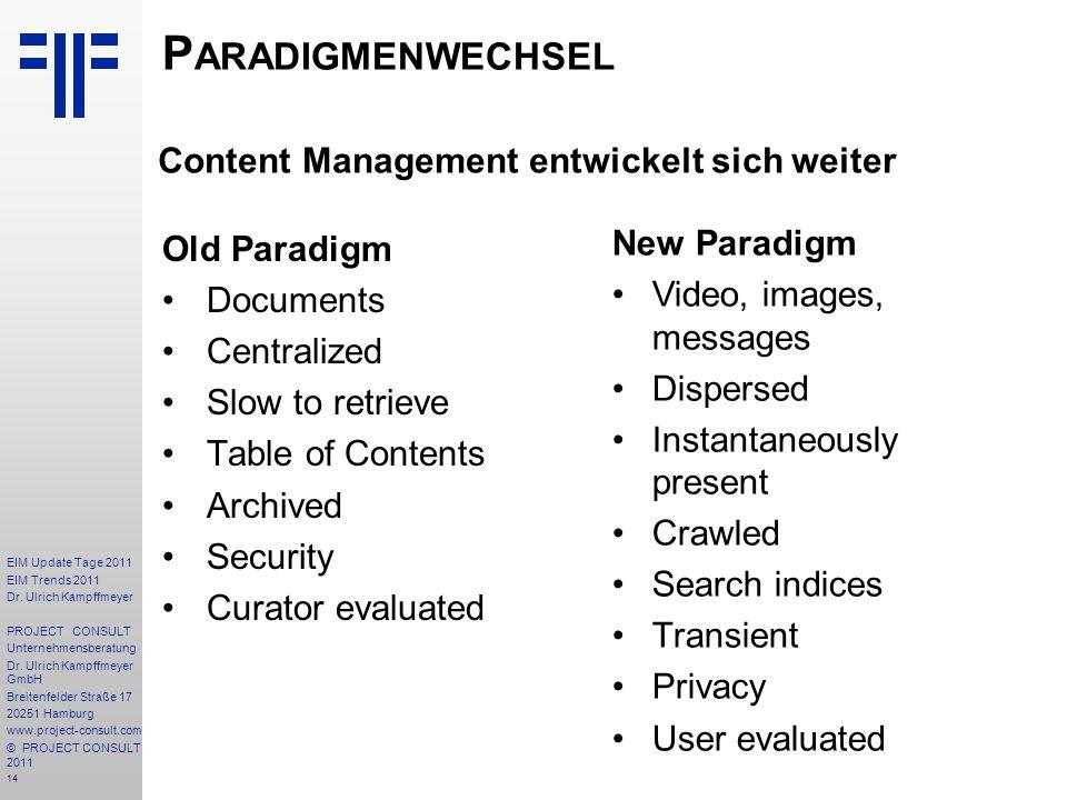 14 EIM Update Tage 2011 EIM Trends 2011 Dr. Ulrich Kampffmeyer PROJECT CONSULT Unternehmensberatung Dr. Ulrich Kampffmeyer GmbH Breitenfelder Straße 1