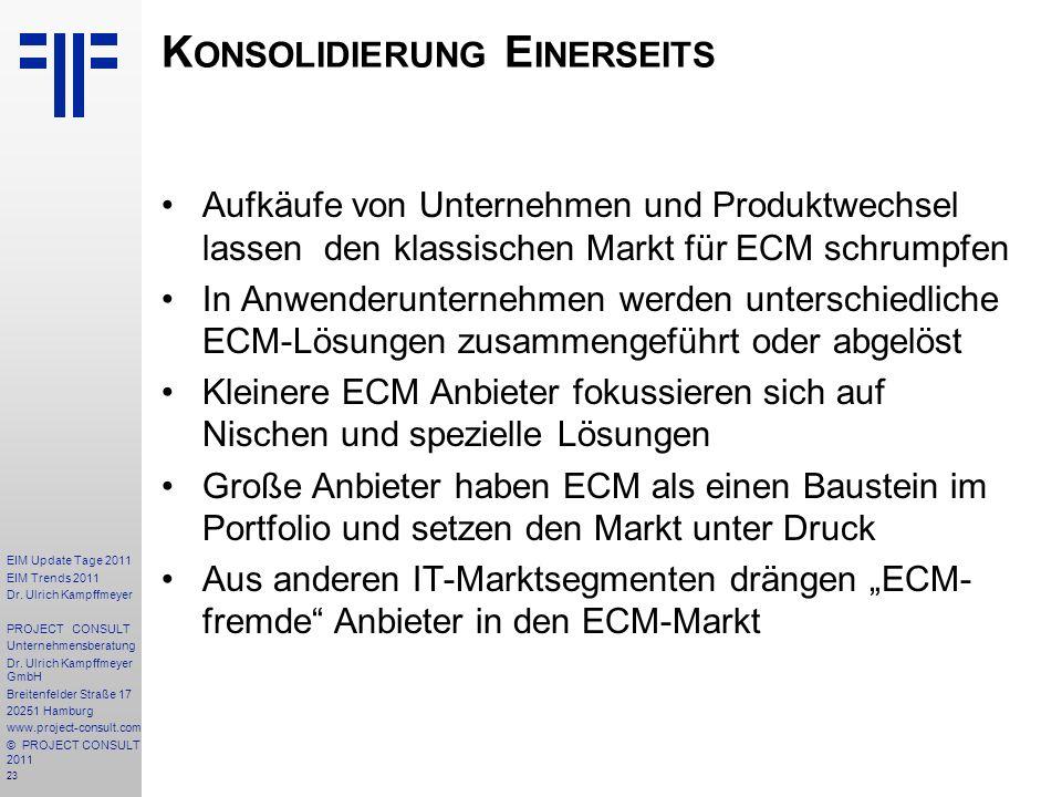 23 EIM Update Tage 2011 EIM Trends 2011 Dr. Ulrich Kampffmeyer PROJECT CONSULT Unternehmensberatung Dr. Ulrich Kampffmeyer GmbH Breitenfelder Straße 1