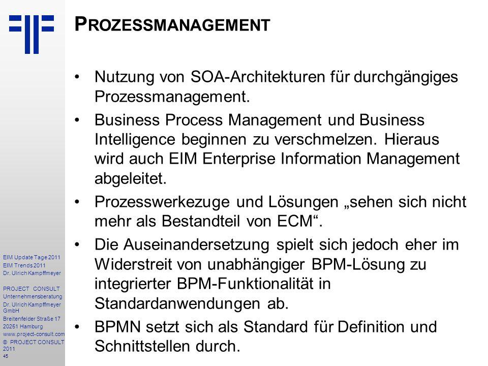 45 EIM Update Tage 2011 EIM Trends 2011 Dr. Ulrich Kampffmeyer PROJECT CONSULT Unternehmensberatung Dr. Ulrich Kampffmeyer GmbH Breitenfelder Straße 1