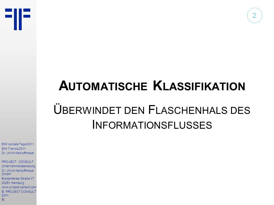 52 EIM Update Tage 2011 EIM Trends 2011 Dr. Ulrich Kampffmeyer PROJECT CONSULT Unternehmensberatung Dr. Ulrich Kampffmeyer GmbH Breitenfelder Straße 1
