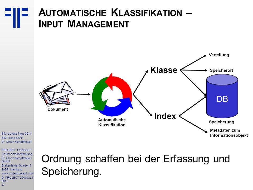 53 EIM Update Tage 2011 EIM Trends 2011 Dr. Ulrich Kampffmeyer PROJECT CONSULT Unternehmensberatung Dr. Ulrich Kampffmeyer GmbH Breitenfelder Straße 1