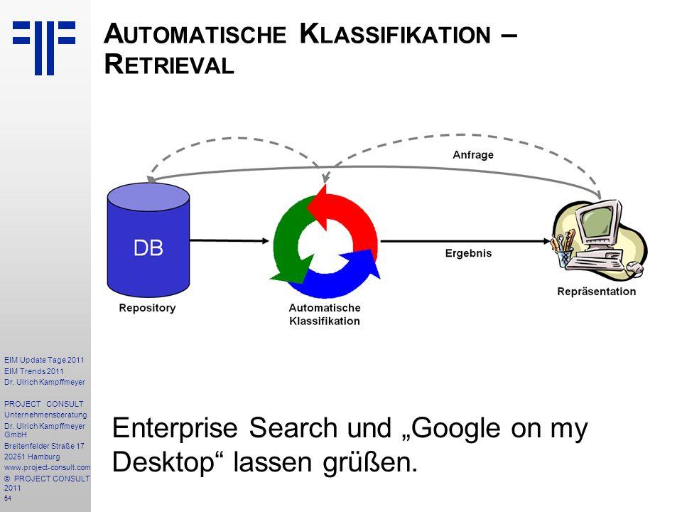 54 EIM Update Tage 2011 EIM Trends 2011 Dr. Ulrich Kampffmeyer PROJECT CONSULT Unternehmensberatung Dr. Ulrich Kampffmeyer GmbH Breitenfelder Straße 1