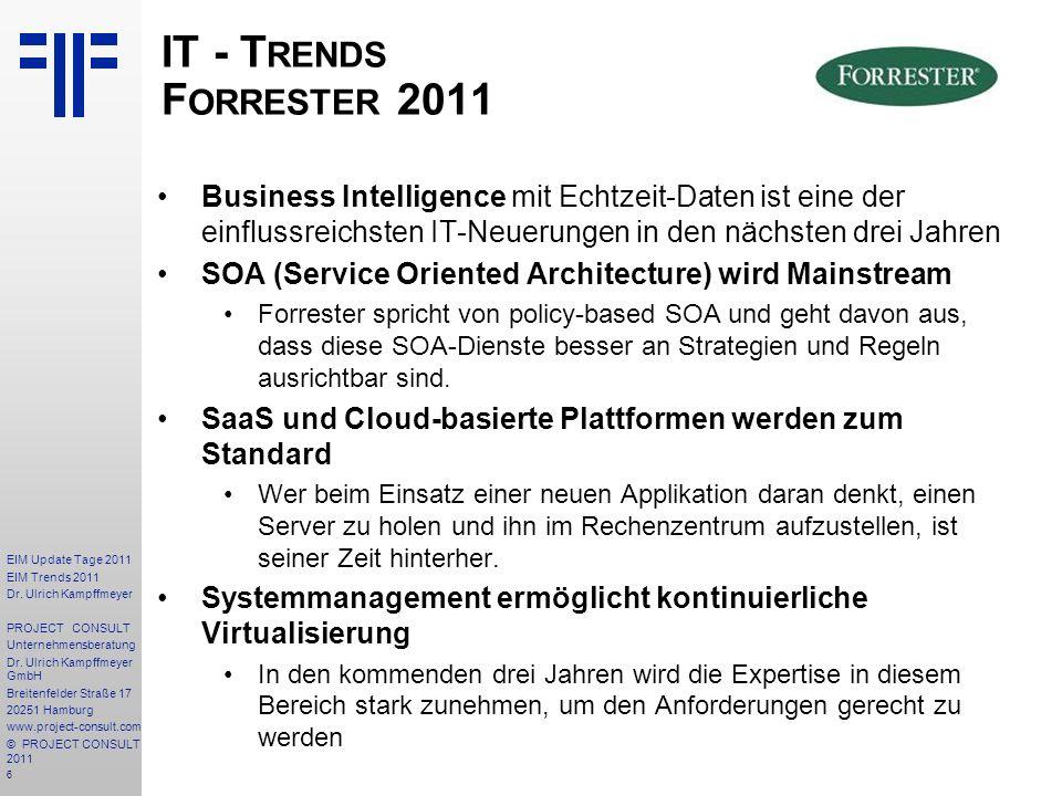 6 EIM Update Tage 2011 EIM Trends 2011 Dr. Ulrich Kampffmeyer PROJECT CONSULT Unternehmensberatung Dr. Ulrich Kampffmeyer GmbH Breitenfelder Straße 17