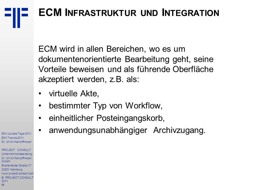 65 EIM Update Tage 2011 EIM Trends 2011 Dr. Ulrich Kampffmeyer PROJECT CONSULT Unternehmensberatung Dr. Ulrich Kampffmeyer GmbH Breitenfelder Straße 1