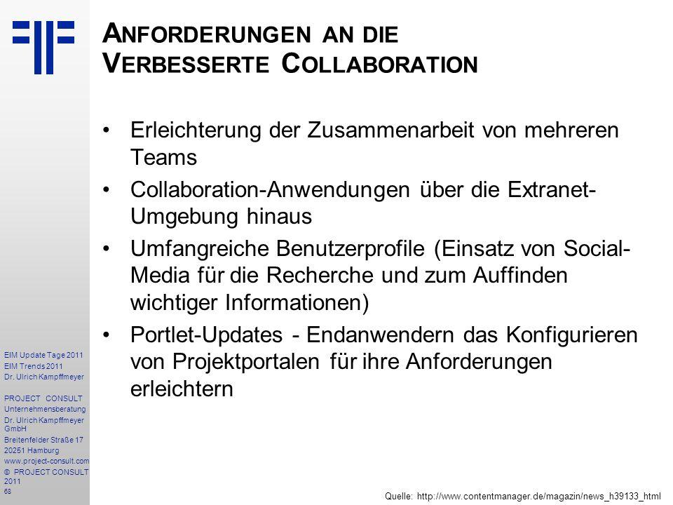 68 EIM Update Tage 2011 EIM Trends 2011 Dr. Ulrich Kampffmeyer PROJECT CONSULT Unternehmensberatung Dr. Ulrich Kampffmeyer GmbH Breitenfelder Straße 1