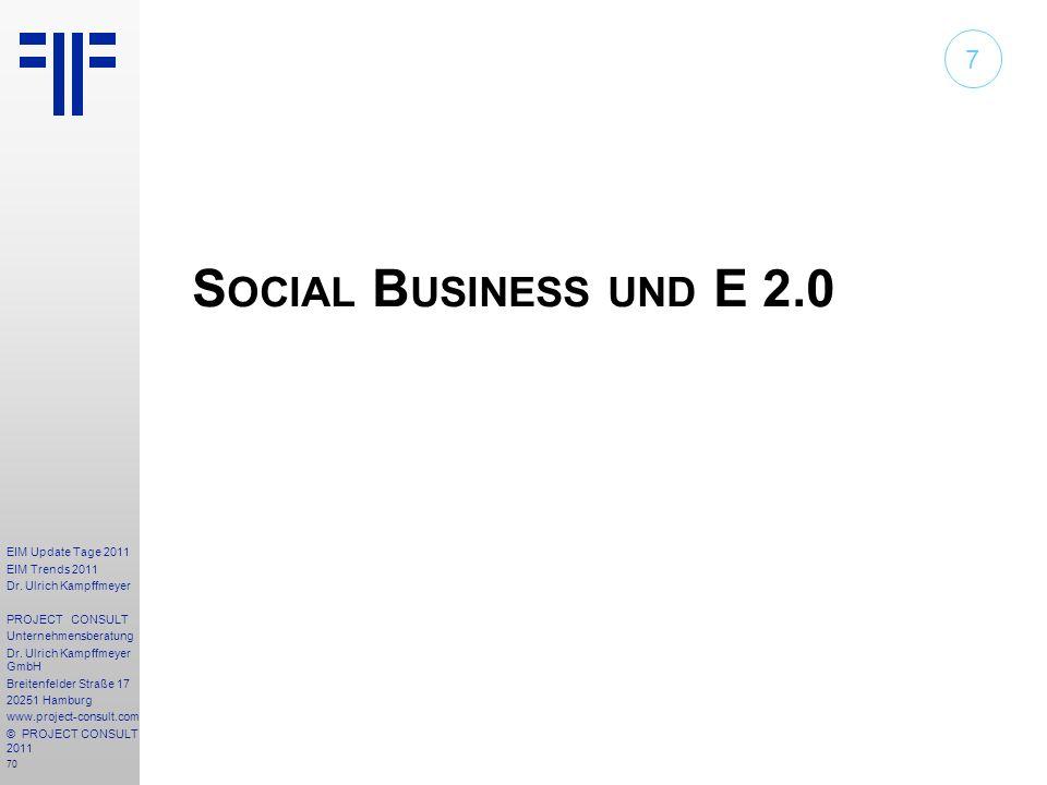 70 EIM Update Tage 2011 EIM Trends 2011 Dr. Ulrich Kampffmeyer PROJECT CONSULT Unternehmensberatung Dr. Ulrich Kampffmeyer GmbH Breitenfelder Straße 1