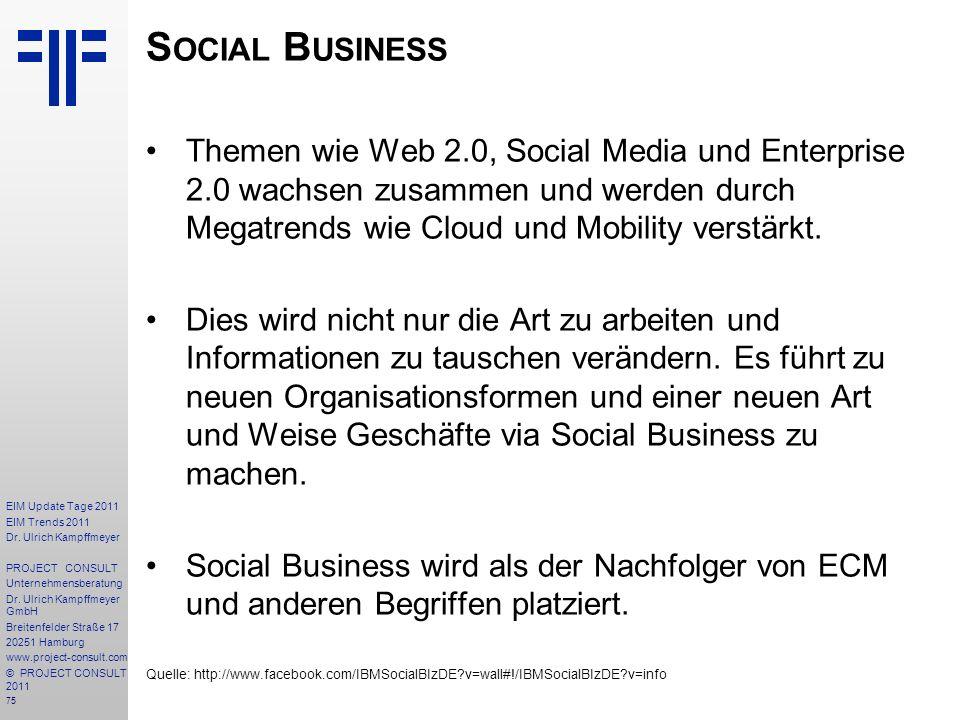 75 EIM Update Tage 2011 EIM Trends 2011 Dr. Ulrich Kampffmeyer PROJECT CONSULT Unternehmensberatung Dr. Ulrich Kampffmeyer GmbH Breitenfelder Straße 1