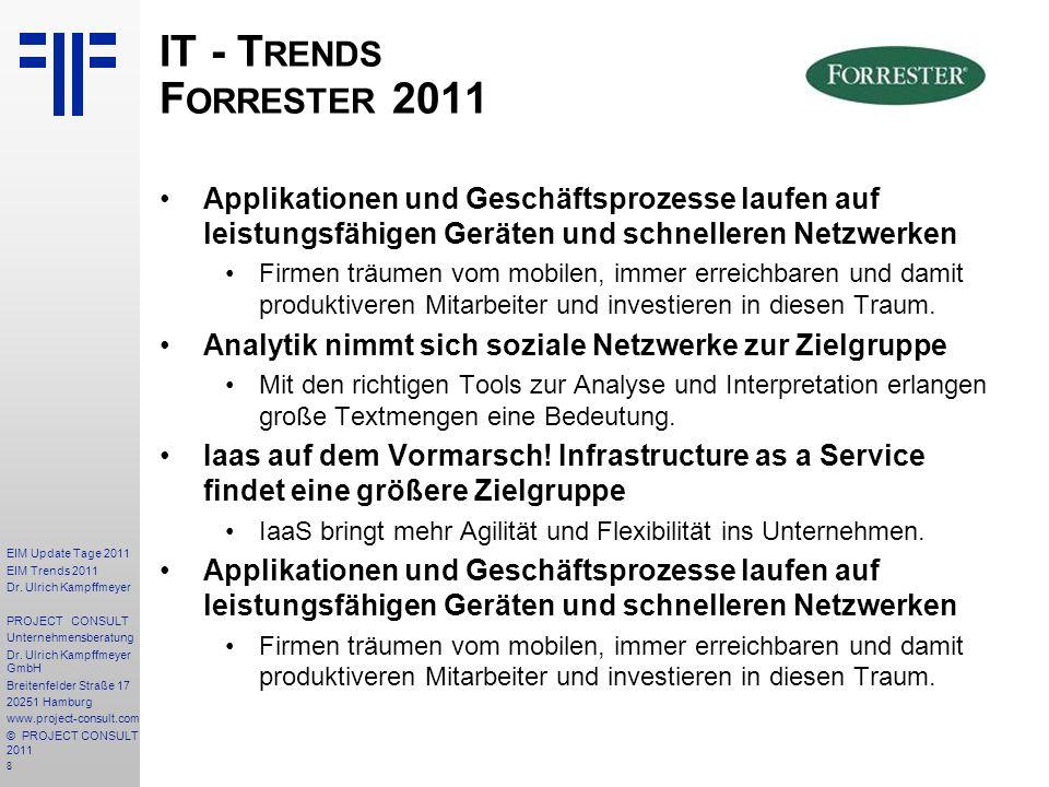 8 EIM Update Tage 2011 EIM Trends 2011 Dr. Ulrich Kampffmeyer PROJECT CONSULT Unternehmensberatung Dr. Ulrich Kampffmeyer GmbH Breitenfelder Straße 17