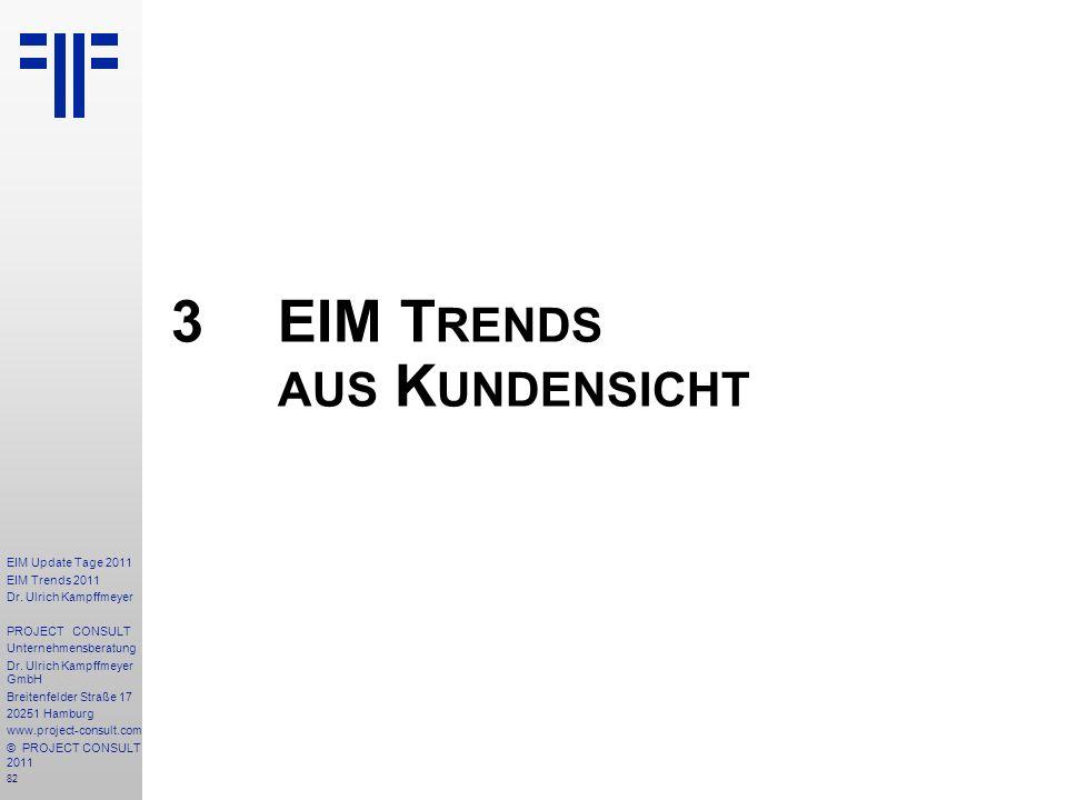 82 EIM Update Tage 2011 EIM Trends 2011 Dr. Ulrich Kampffmeyer PROJECT CONSULT Unternehmensberatung Dr. Ulrich Kampffmeyer GmbH Breitenfelder Straße 1