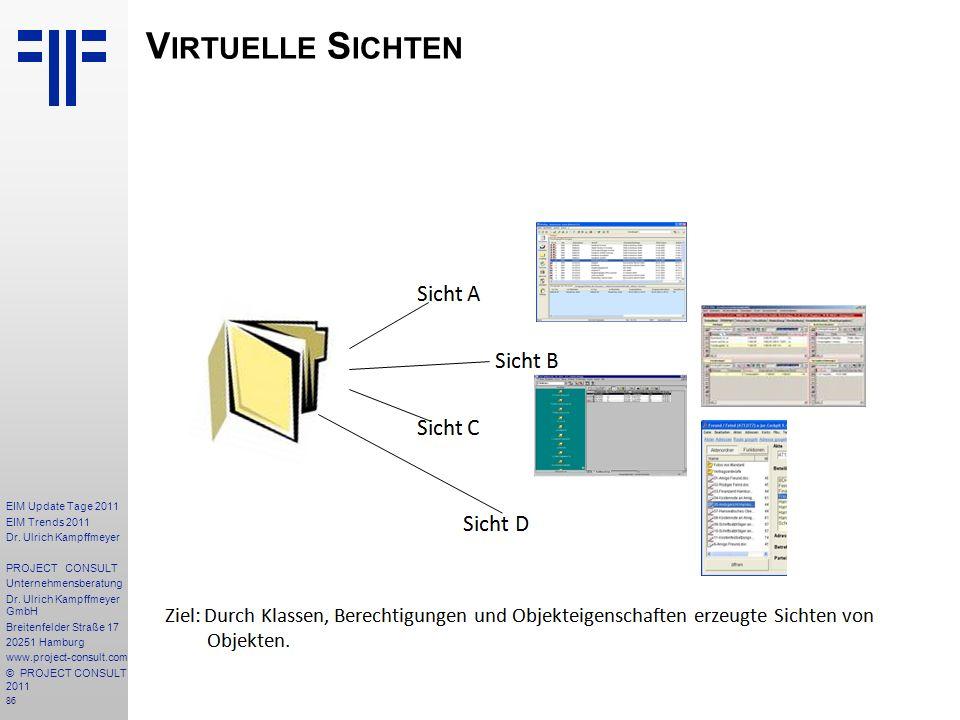 86 EIM Update Tage 2011 EIM Trends 2011 Dr. Ulrich Kampffmeyer PROJECT CONSULT Unternehmensberatung Dr. Ulrich Kampffmeyer GmbH Breitenfelder Straße 1