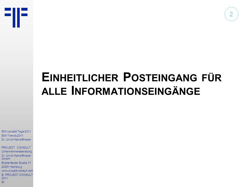 88 EIM Update Tage 2011 EIM Trends 2011 Dr. Ulrich Kampffmeyer PROJECT CONSULT Unternehmensberatung Dr. Ulrich Kampffmeyer GmbH Breitenfelder Straße 1