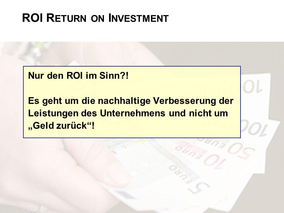 ROI R ETURN ON I NVESTMENT Nur den ROI im Sinn?! Es geht um die nachhaltige Verbesserung der Leistungen des Unternehmens und nicht um Geld zurück!