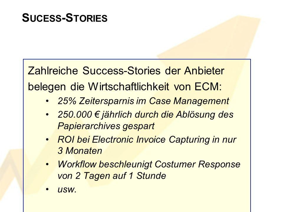 S UCESS -S TORIES Zahlreiche Success-Stories der Anbieter belegen die Wirtschaftlichkeit von ECM: 25% Zeitersparnis im Case Management 250.000 jährlic