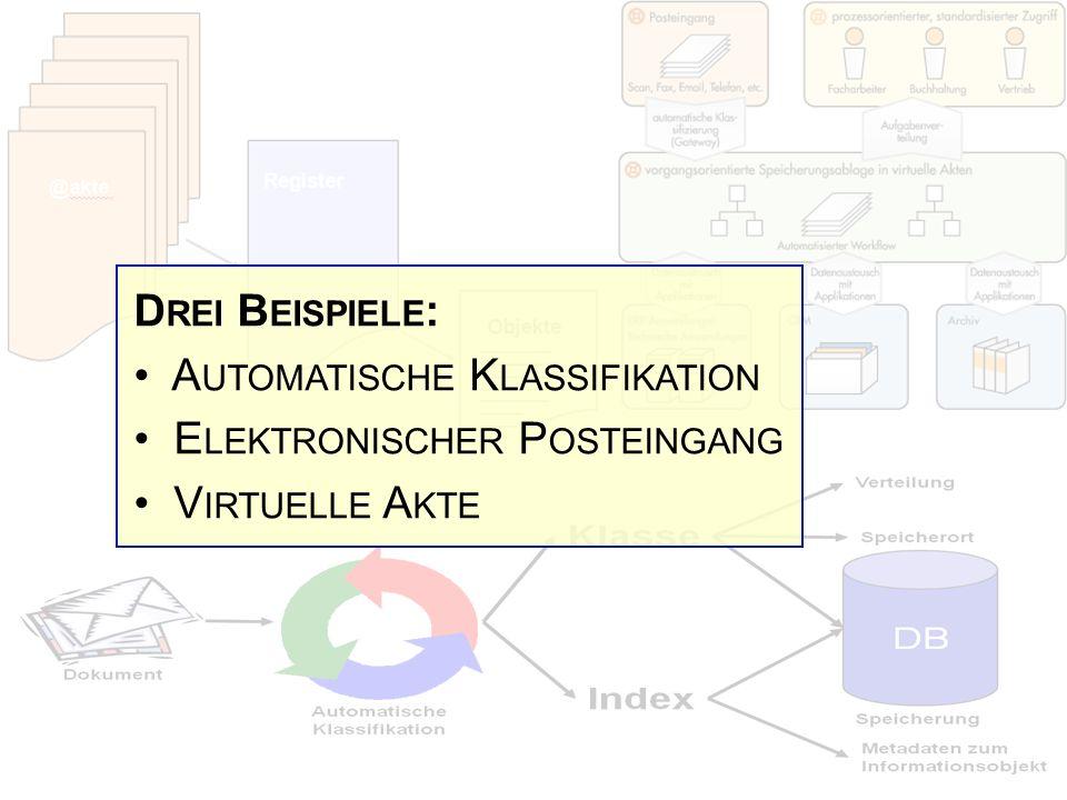 D REI B EISPIELE : A UTOMATISCHE K LASSIFIKATION E LEKTRONISCHER P OSTEINGANG V IRTUELLE A KTE