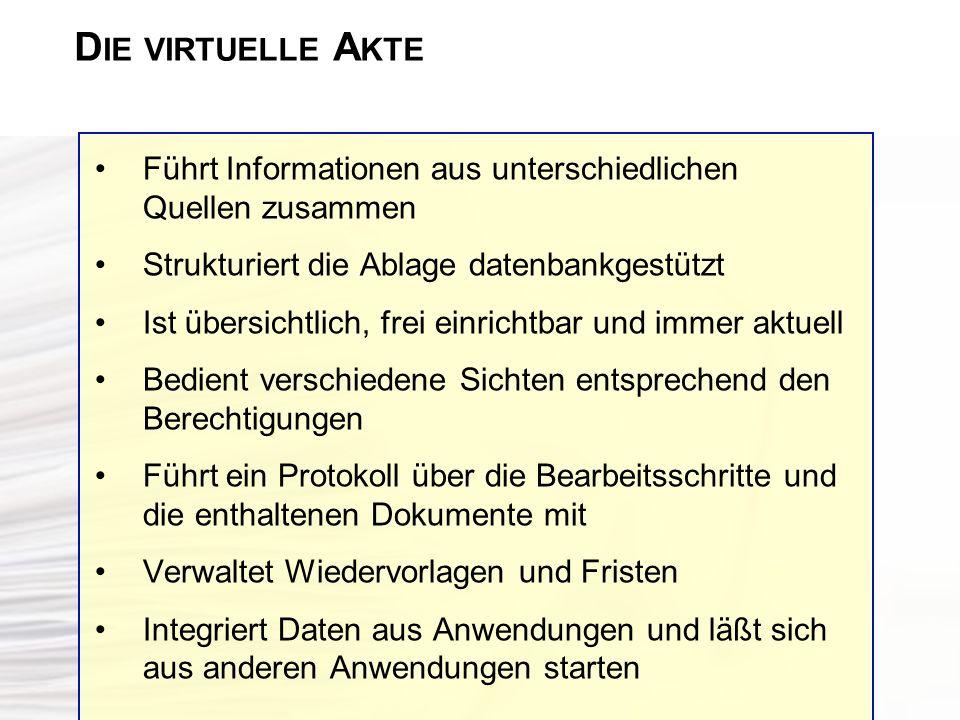D IE VIRTUELLE A KTE Führt Informationen aus unterschiedlichen Quellen zusammen Strukturiert die Ablage datenbankgestützt Ist übersichtlich, frei einr