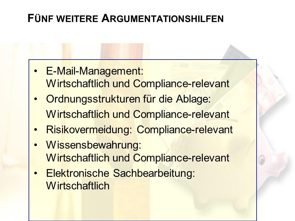 E-Mail-Management: Wirtschaftlich und Compliance-relevant Ordnungsstrukturen für die Ablage: Wirtschaftlich und Compliance-relevant Risikovermeidung: