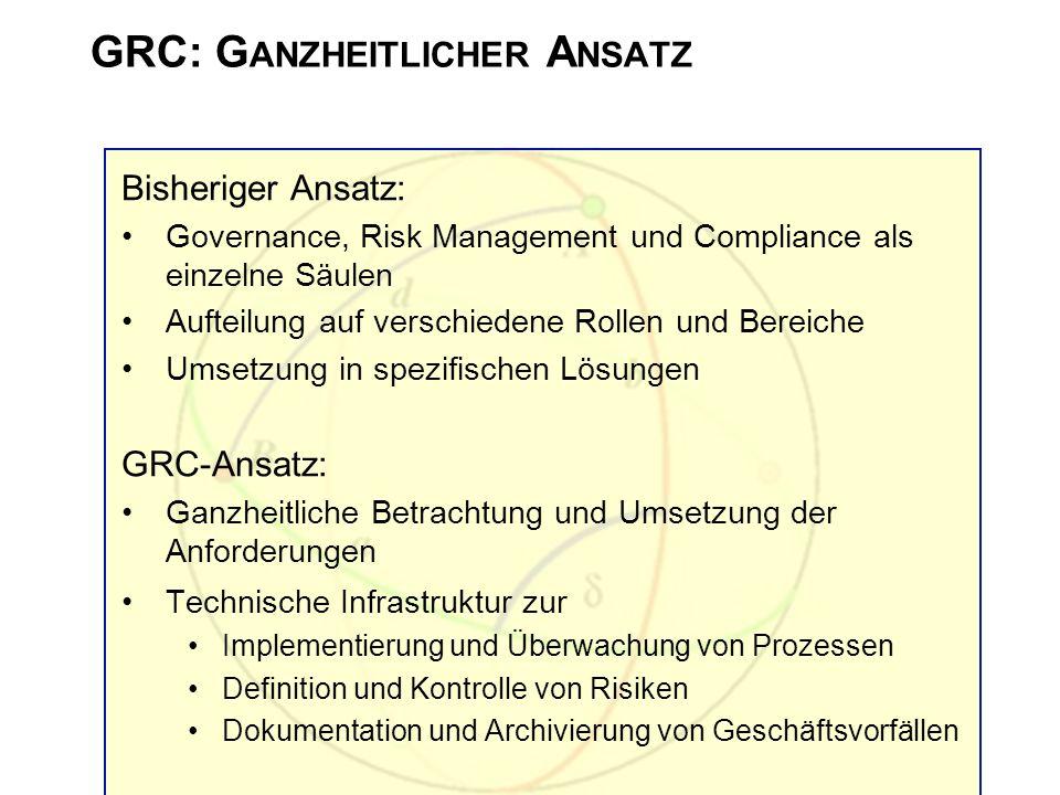 GRC: G ANZHEITLICHER A NSATZ Bisheriger Ansatz: Governance, Risk Management und Compliance als einzelne Säulen Aufteilung auf verschiedene Rollen und