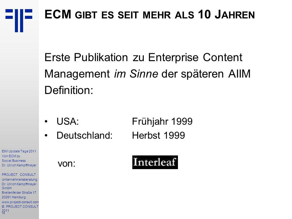 16 EIM Update Tage 2011 Von ECM zu Social Business Dr.