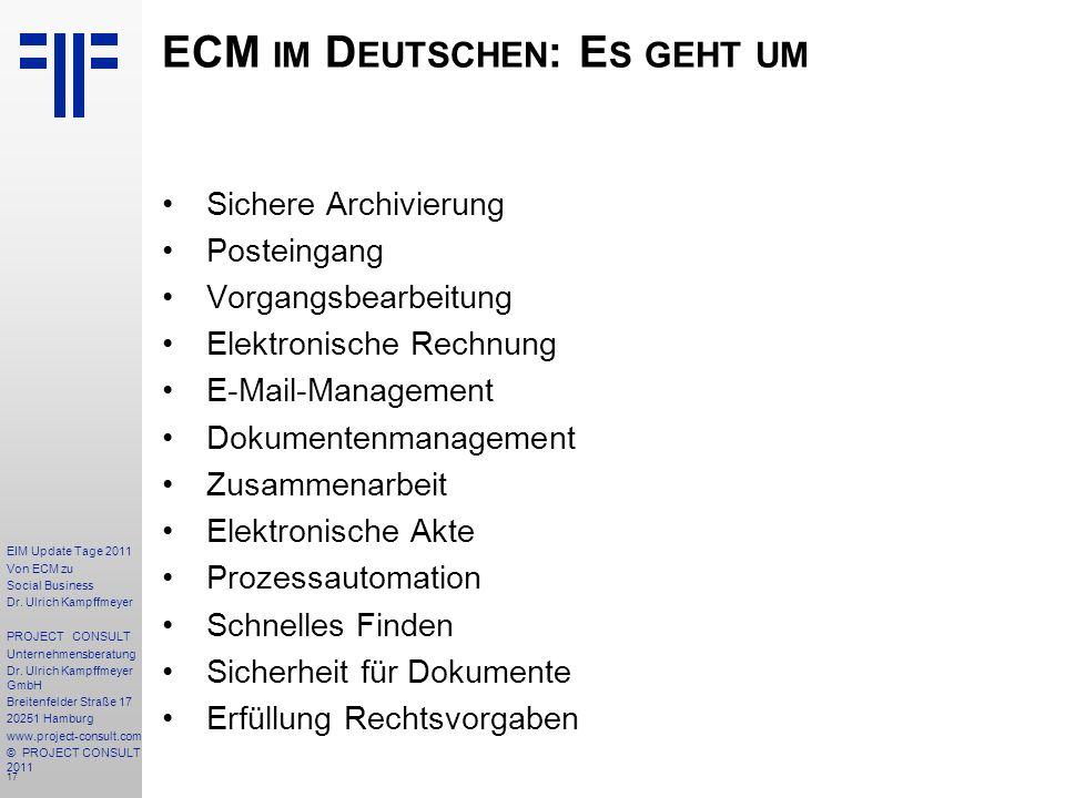 17 EIM Update Tage 2011 Von ECM zu Social Business Dr.