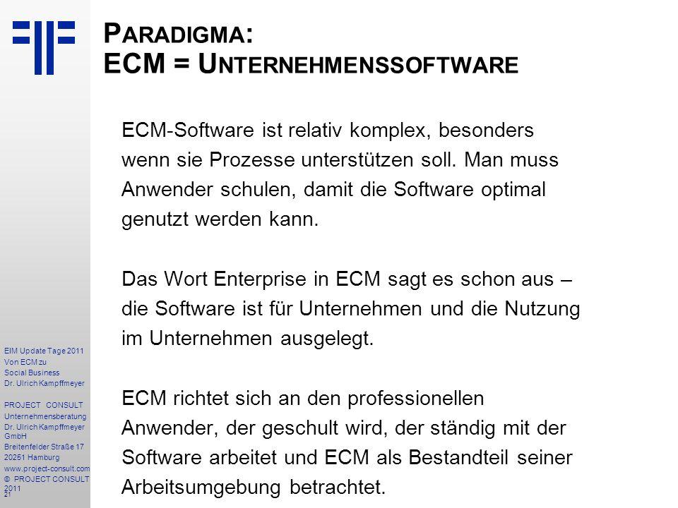 21 EIM Update Tage 2011 Von ECM zu Social Business Dr.