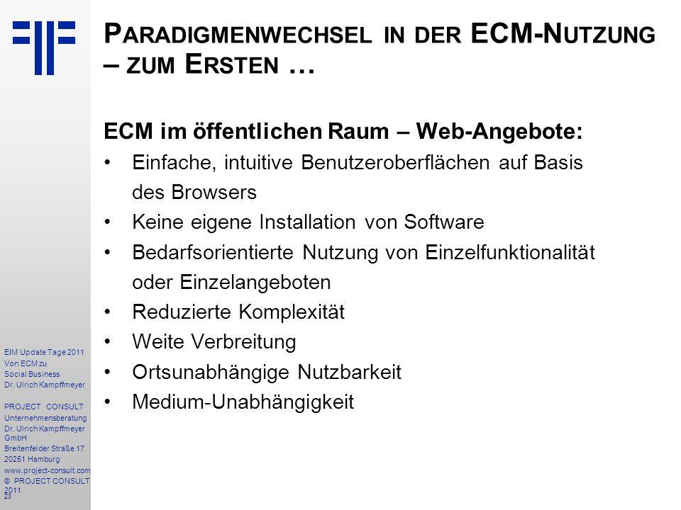 23 EIM Update Tage 2011 Von ECM zu Social Business Dr.