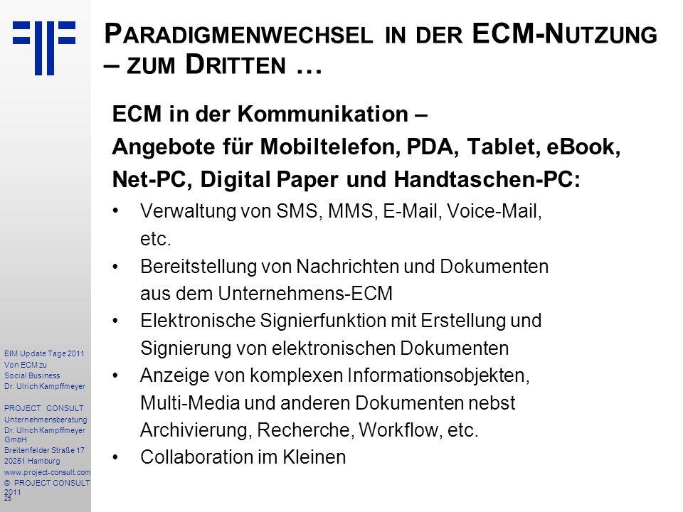 25 EIM Update Tage 2011 Von ECM zu Social Business Dr.