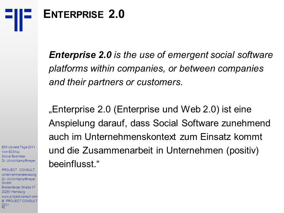 42 EIM Update Tage 2011 Von ECM zu Social Business Dr.