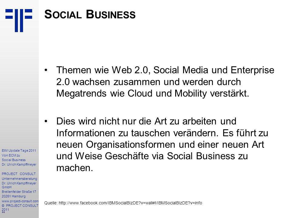 44 EIM Update Tage 2011 Von ECM zu Social Business Dr.