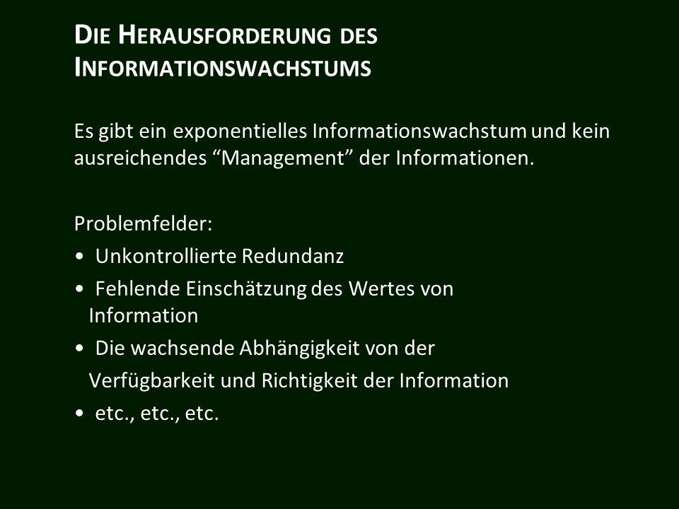 D IE H ERAUSFORDERUNG DES I NFORMATIONSWACHSTUMS Es gibt ein exponentielles Informationswachstum und kein ausreichendes Management der Informationen.