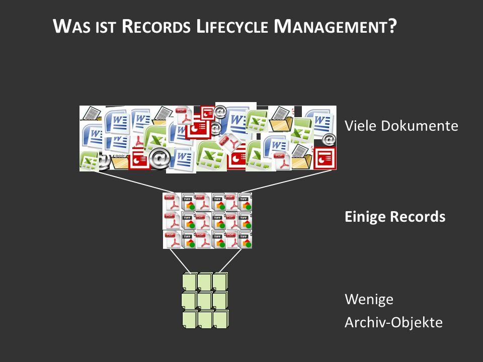 W AS IST R ECORDS L IFECYCLE M ANAGEMENT Viele Dokumente Einige Records Wenige Archiv-Objekte