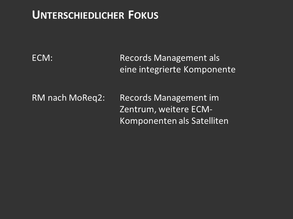 U NTERSCHIEDLICHER F OKUS ECM:Records Management als eine integrierte Komponente RM nach MoReq2:Records Management im Zentrum, weitere ECM- Komponenten als Satelliten