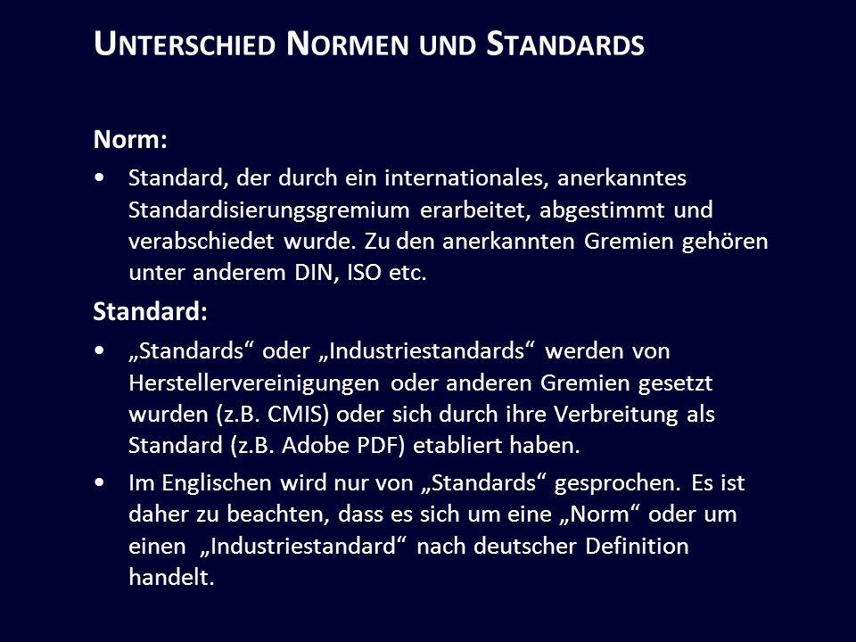 U NTERSCHIED N ORMEN UND S TANDARDS Norm: Standard, der durch ein internationales, anerkanntes Standardisierungsgremium erarbeitet, abgestimmt und verabschiedet wurde.