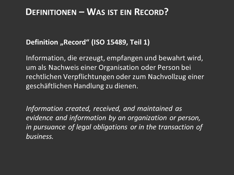 D EFINITIONEN – W AS IST EIN R ECORD .