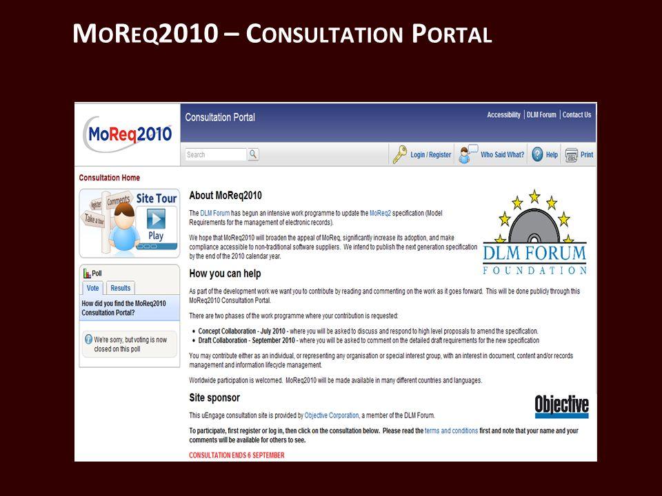 M O R EQ 2010 – C ONSULTATION P ORTAL