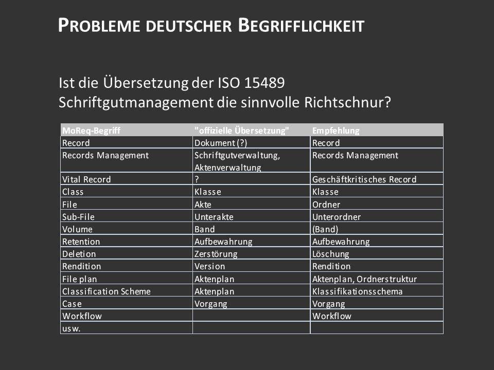 P ROBLEME DEUTSCHER B EGRIFFLICHKEIT Ist die Übersetzung der ISO 15489 Schriftgutmanagement die sinnvolle Richtschnur?