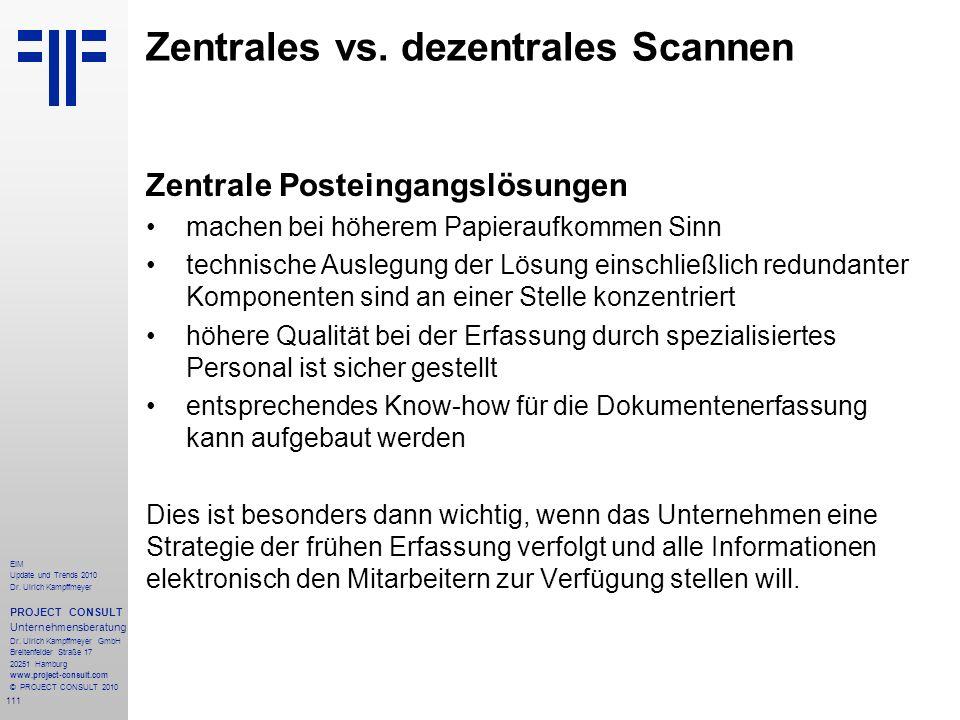 111 EIM Update und Trends 2010 Dr. Ulrich Kampffmeyer PROJECT CONSULT Unternehmensberatung Dr. Ulrich Kampffmeyer GmbH Breitenfelder Straße 17 20251 H