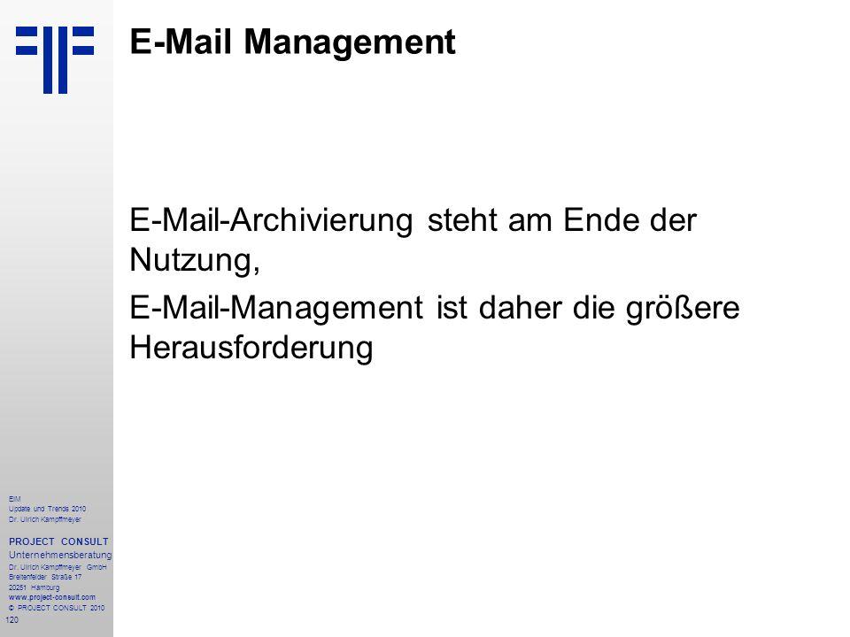 120 EIM Update und Trends 2010 Dr. Ulrich Kampffmeyer PROJECT CONSULT Unternehmensberatung Dr. Ulrich Kampffmeyer GmbH Breitenfelder Straße 17 20251 H