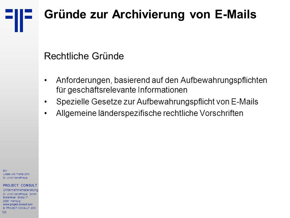 123 EIM Update und Trends 2010 Dr. Ulrich Kampffmeyer PROJECT CONSULT Unternehmensberatung Dr. Ulrich Kampffmeyer GmbH Breitenfelder Straße 17 20251 H