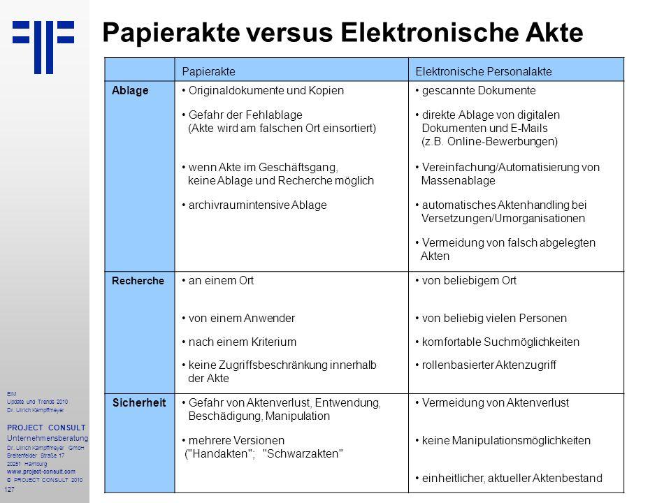 127 EIM Update und Trends 2010 Dr. Ulrich Kampffmeyer PROJECT CONSULT Unternehmensberatung Dr. Ulrich Kampffmeyer GmbH Breitenfelder Straße 17 20251 H